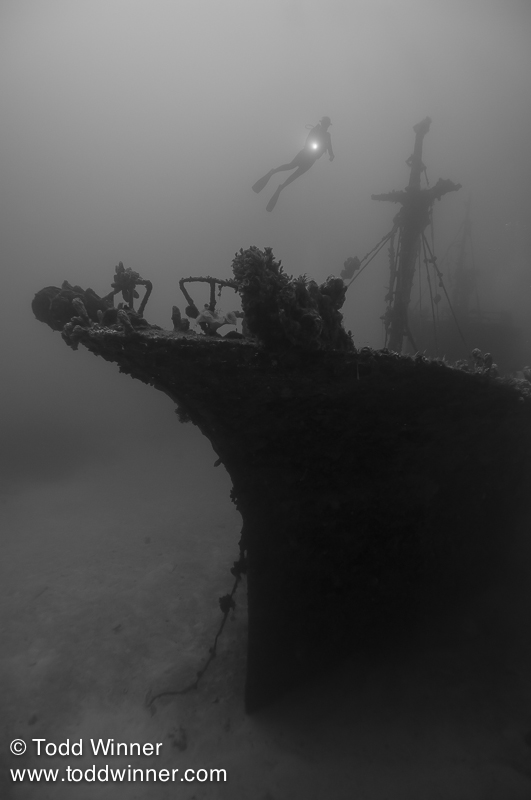 Silhouette of diver and bow of ship. Solomon Islands