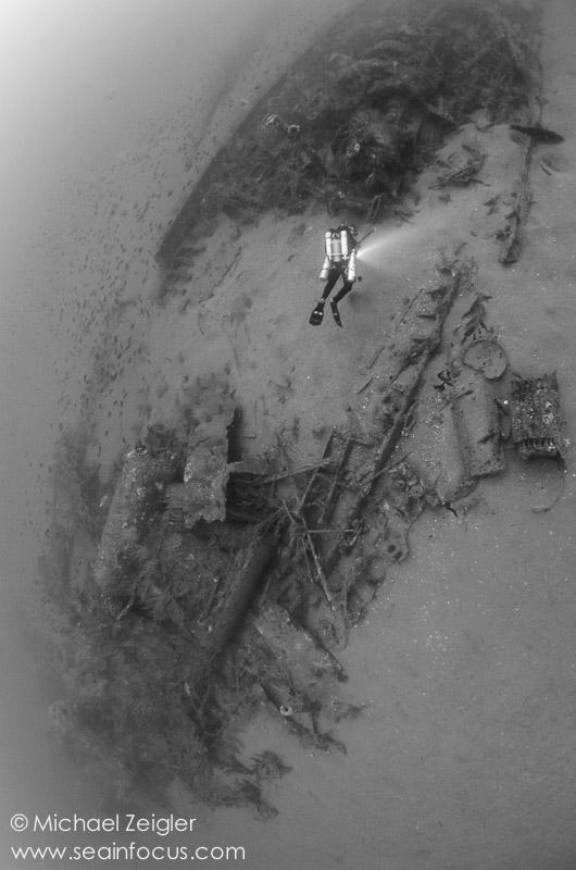 A tech diver explores the wreck of the Hogan off the coast of San Diego, CA.