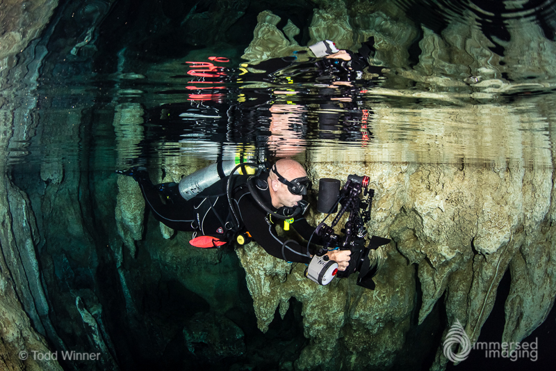 Underwater photographer in Chandelier Cave. Palau